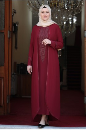 Amine Hüma  - Aslı Evening Dress Burgunday