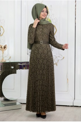 Pınar Şems - Lace Pililied Dress Drab
