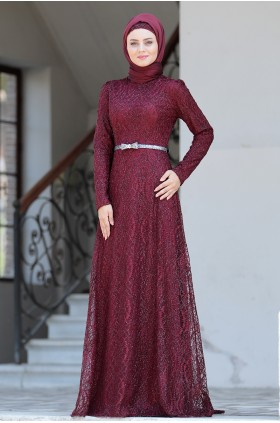 Ahunisa - Parıltı Dress Burgunday