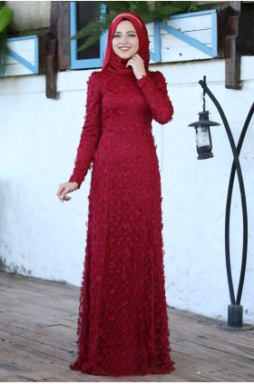 Al-Marah Aslı Evening Dress Burgunday