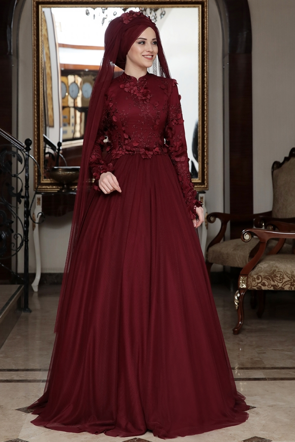 Al-Marah Behrem Evening Dress Burgunday