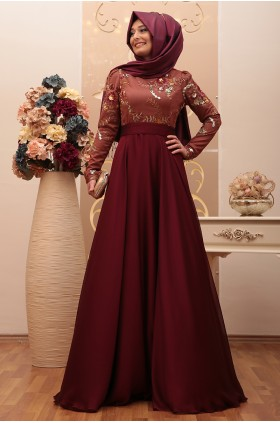 Annahar - Beliz Evening Dress Burgunday