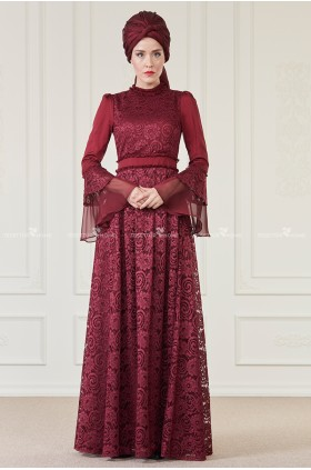 AnNahar - Hare Evening Dress Burgunday