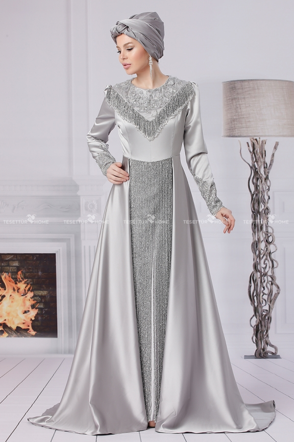 Fahrunnisa - Aypare Evening Dress Grey