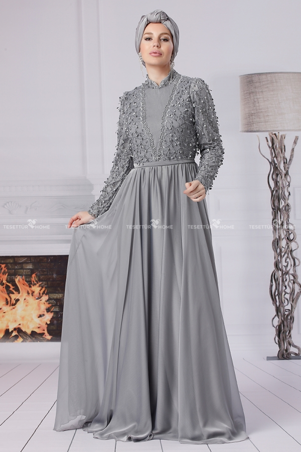 Fahrunnisa - Bahriye Evening Dress Grey