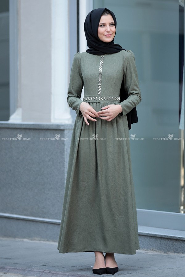 Fahrunnisa - Pearl Dress Drab