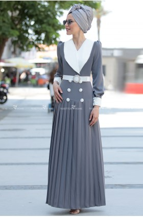 Fahrunnisa -  Pilied Dress Grey