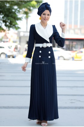 Fahrunnisa -  Pilied Dress Navy Blue
