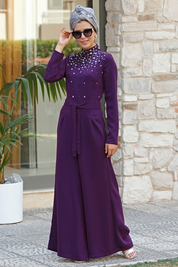 Fahrunnisa - Stone Patterned Overall Damson