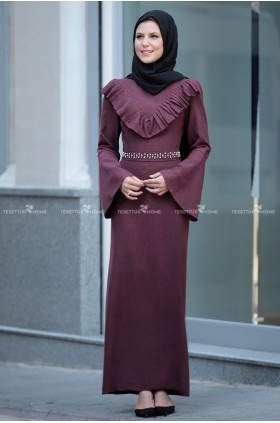 Fahrunnisa - Valonlu Dress Burgunday