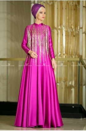 Hilal Baş - Lal Evening Dress Fuchsia