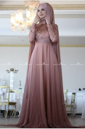 Nurbanu Kural -Caped Evening Dress Copper