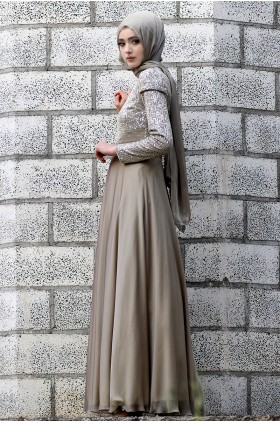 Nurbanu Kural -  Pırıltı  Evening Dress Drab