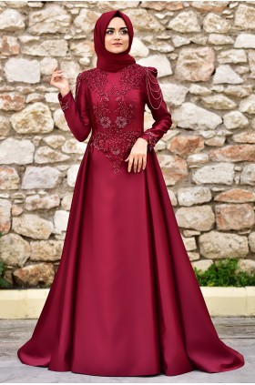 Nurgül Çakır - Bade Evening Dress Burgunday