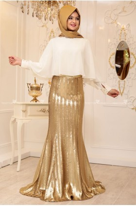 Pınar Şems -  Gold Scaly Fish Skirt