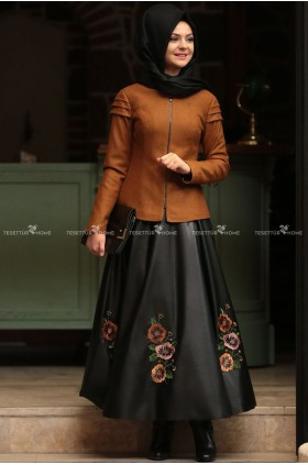 Pınar Şems Trend Embroidered Leather Skirt Tobacco