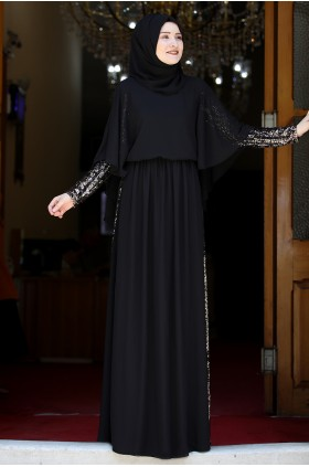 Rana Zenn Güneş Evening Dress Black