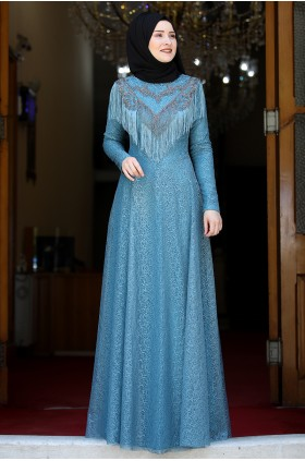 Rana Zenn Yaprak Evening Dress Blue Petrol