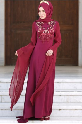 Şarika - Arm Details Evening Dress Fuchsia