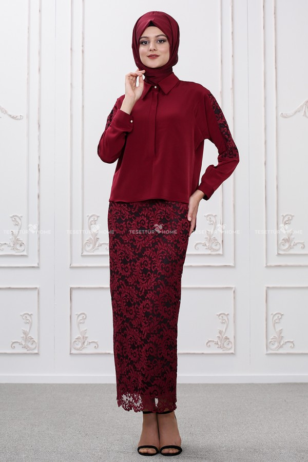 Som Fashion - Bahar Dantelli Bluz Bordo