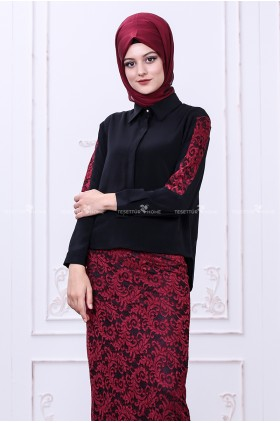 Som Fashion - Bahar Lace Shirt Black