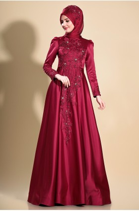 Som Fashion - Lilyum  Evening Dress Burgunday