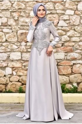 Nurgül Çakır - Bade Evening Dress Grey